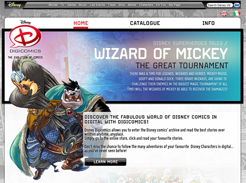 UK Disney DigiComics homepage