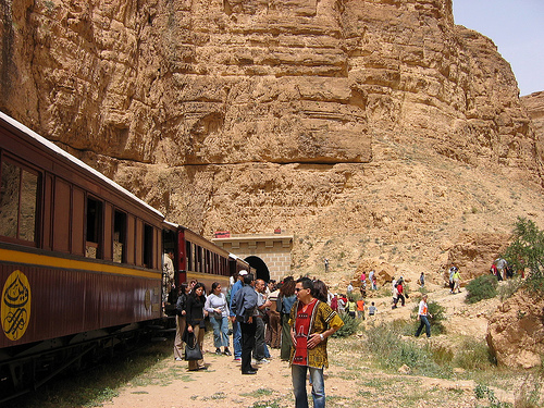 Lezard Rouge train through Seldja Gorge