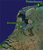 Map of Netherlands with Pieterburen and Amsterdam marked