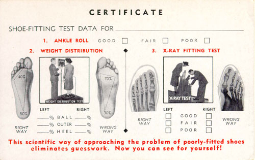 Shoe-Fitting Fluoroscope Certificate