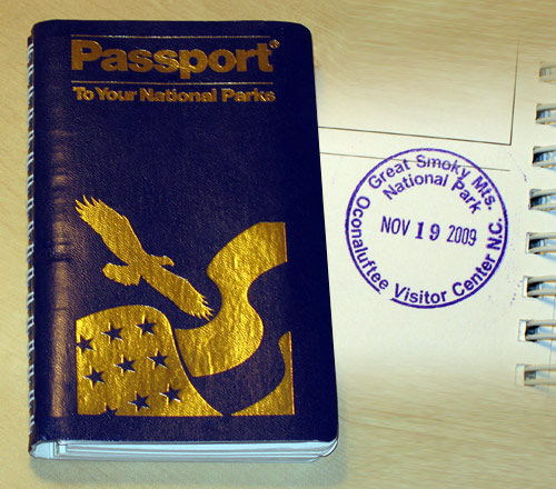 My National Parks Passport with my stamp from Great Smoky Mountains National Park