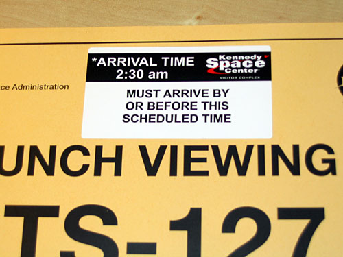 STS 127 arrival time sticker