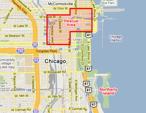 Map of Chicago with rescue area