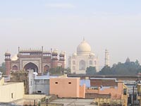 View of Taj Mahal from Hotel Kamal, Agra, India