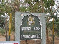 Sign leading to Ranthambhore National Park, India