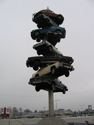 Spindle of cars in Berwyn, Illinois