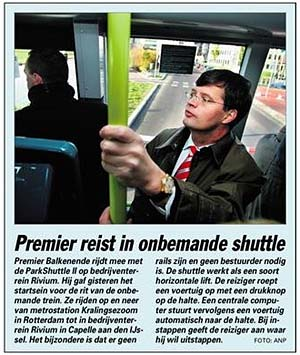 Jan-Peter Balkenende riding the robot bus