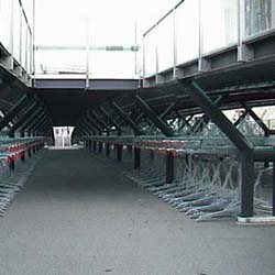 Empty Leiden bicycle parking garage