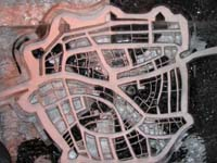 Map of Leiden, the Netherlands made of ice