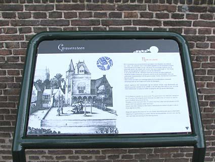 Historic Leiden information sign