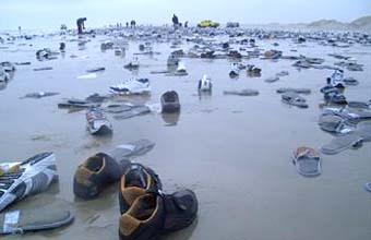 Beached shoes on Terschelling
